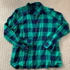 JCrew kelly green and navy flannel